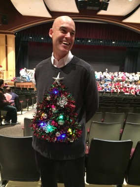 NHS Principal, Brian Harrigan, Sporting Holiday Wear