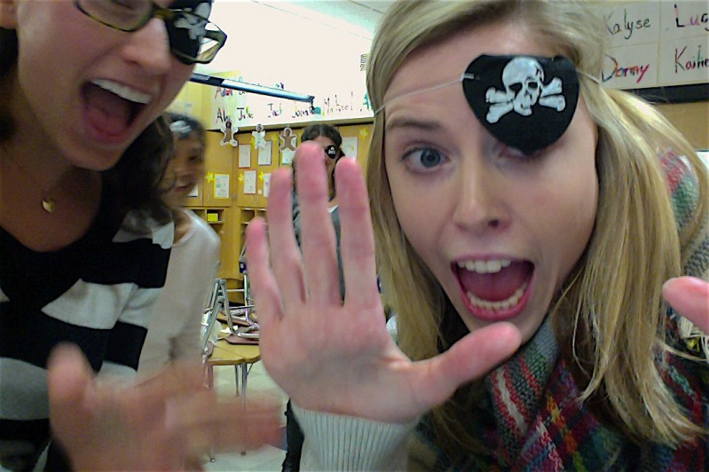 Natick's teachers preparing for their pirate teaching lessons!